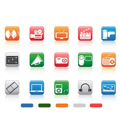 button media tools icon set vector image vector image