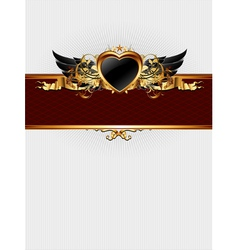 ornate frame with heart form vector image vector image