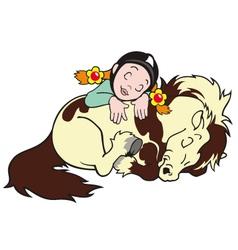 sleeping girl with pony vector image vector image