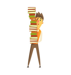 student standing and holding a pile of books vector image vector image