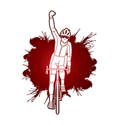 the winner bicycle riding front view vector image vector image