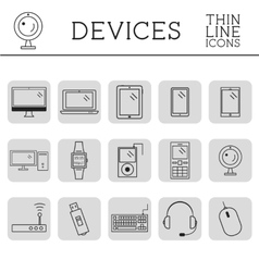 Trendy PC computer mobile gadgets and device vector image