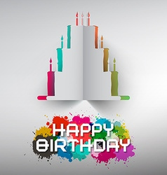 Birthday Paper Cut Cake with Colorful Splashes and vector image vector image