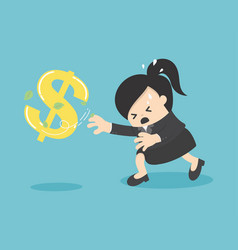 Cartoon business woman chasing symbol money style vector