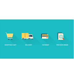 flat checkout icons vector image vector image