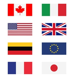 G8 countries flags vector image vector image