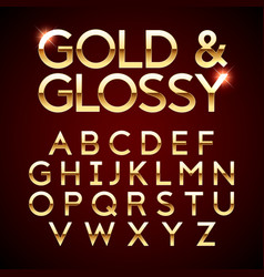 gold and glossy shining font golden alphabet vector image