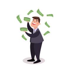 happy businessman character standing under money vector image