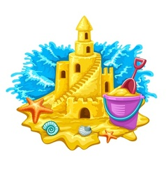 Sand castle with childs toys vector image vector image