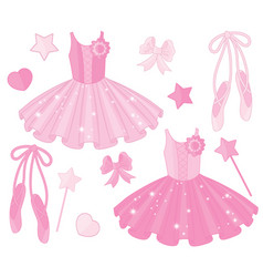 set with ballet shoes and tutu dresses vector image