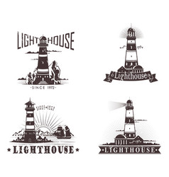 sketches of lighthouse with lamp on mountain vector image