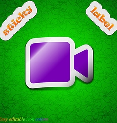 Video camera icon sign Symbol chic colored sticky vector image vector image