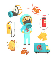 exterminators of insects in chemical protective vector image