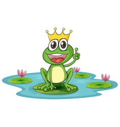 Happy King Cartoon Frog vector image