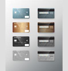 realistic credit card set vector image vector image