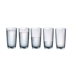 Set of cups of water with filling vector