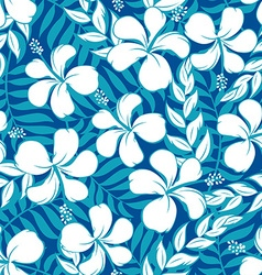 Tropical white and turquoise graphic seamless vector image vector image