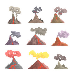 volcano eruption set volcanic magma blowing up vector image