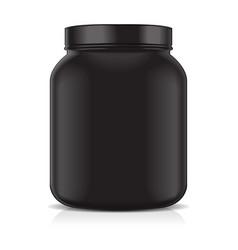 black blank plastic jar isolated on white vector image