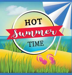 hot summer time text banner design vector image