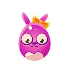 Purple Egg Shaped Easter Bunny With Bow vector image vector image