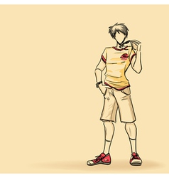 Sporty man in shorts vector image