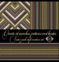 3d greek seamless patterns and border set vector image