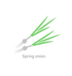 A badge of green onions isolated vegetable linear vector