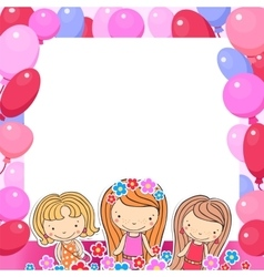 a Birthday Celebrant three girls vector image