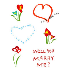 A set of different elements for romantic postcards vector