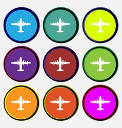 Aircraft icon sign Nine multi colored round vector