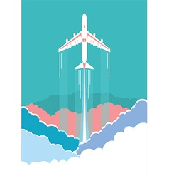 Airplane flying in sky background poster vector