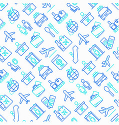 Airport seamless pattern with thin line icons vector