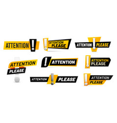 attention please badges important message vector image