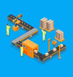 Automated factory 3d isometric view vector
