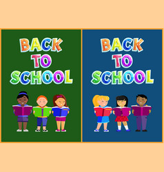 back to school with schoolchildren reading books vector image