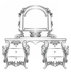 Baroque furniture Dressing Table vector