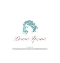 Beauty woman female lady girl hair salon spa logo vector