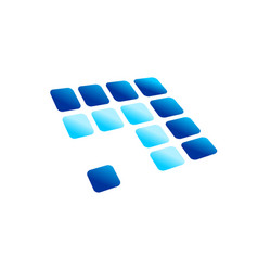 blue arrow digital panel rounded blocks symbol vector image