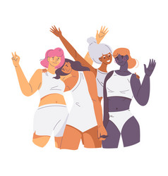 bodypositive female characters various skin vector image