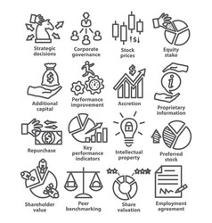 Business management line icons pack 42 vector