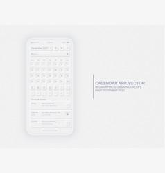 Calendar app december 2021 ui ux neumorphic vector