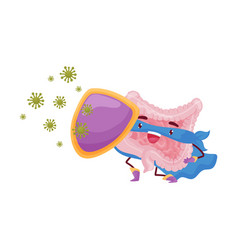 Cartoon intestine is protected a shield from vector