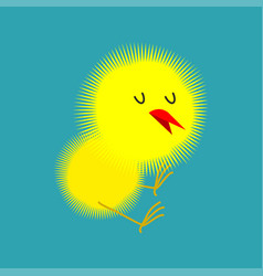 Chick isolated small chicken little farm yellow vector
