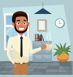 Color background workplace office half body vector