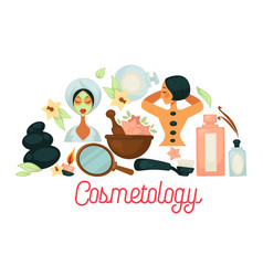 Cosmetology promotional poster with female clients vector