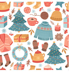 cozy christmas pattern winter gift mug drink vector image