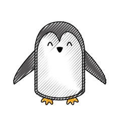 cute scribble penguin cartoon vector image