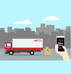 delivery truck service order worldwide shipping vector image