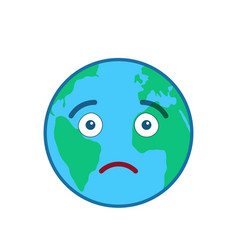 Disappointed world globe isolated emoticon vector